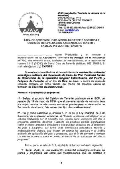 Alegaciones consulta EAE puerto de Fonsalía