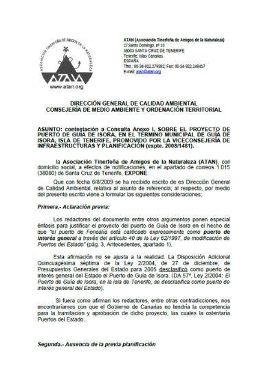 Alegaciones consulta proyecto puerto Fonsalía