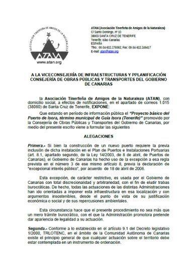 Alegaciones proyecto puerto de Fonsalía