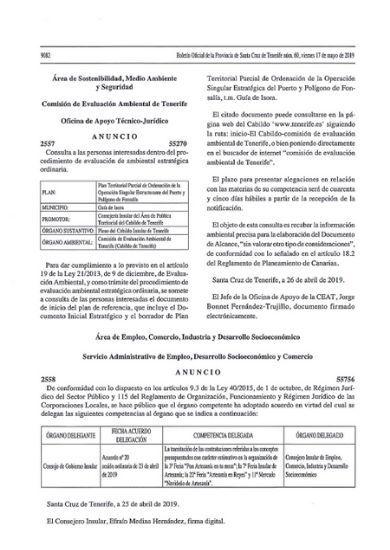 Anuncio información pública EIE puerto de Fonsalía