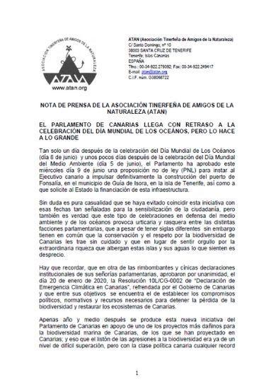 Nota de prensa - Fonsalía y el Parlamento de Canarias