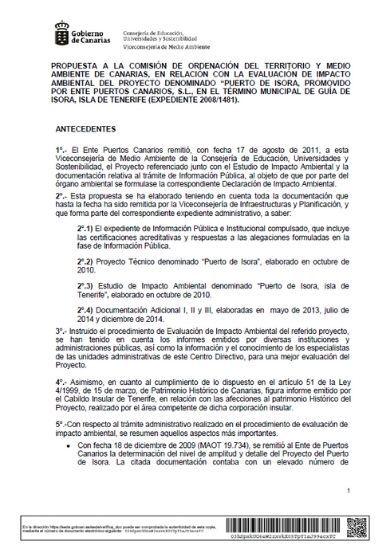 Acuerdo de la COTMAC sobre la declaración de impacto ambiental
