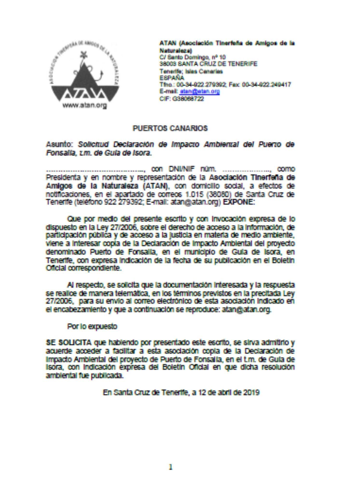 Escrito DIA puerto Fonsalía (abril de 2019)
