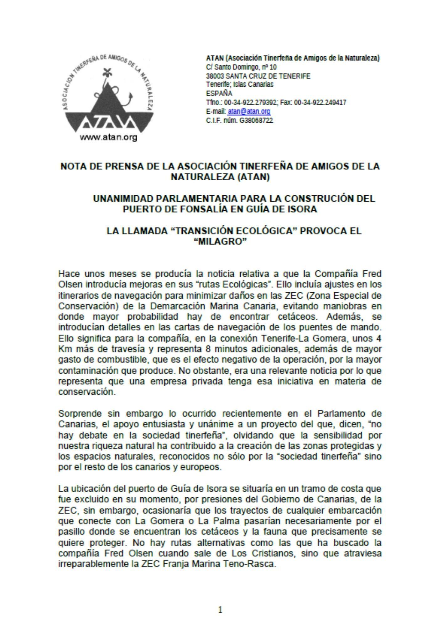 NOTA DE PRENSA UNIDAD POLÍTICA EN FAVOR DEL PUERTO DE FONSALIA (octubre de 2019)